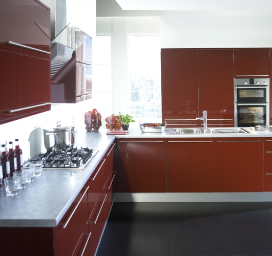 Casual Simplicity U2013 Rich Gloss Burgundy. Make The Most Of Your Kitchen  Space. Shown With White Cabinets And Stainless Steel Plinths To Create The  Definitive ...